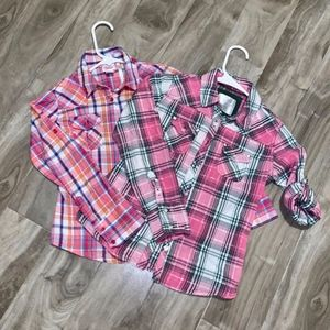 Two Justice Cowgirl Plaid Tops Girls